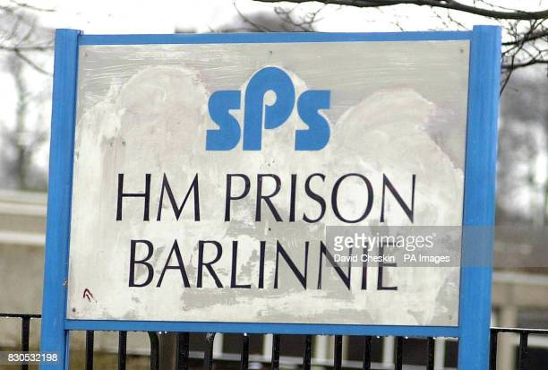 The sign outside HM Prison Barlinnie Glasgow where the two Libyans accused of the Lockerbie bombing is expected to go if found guilty at the special...