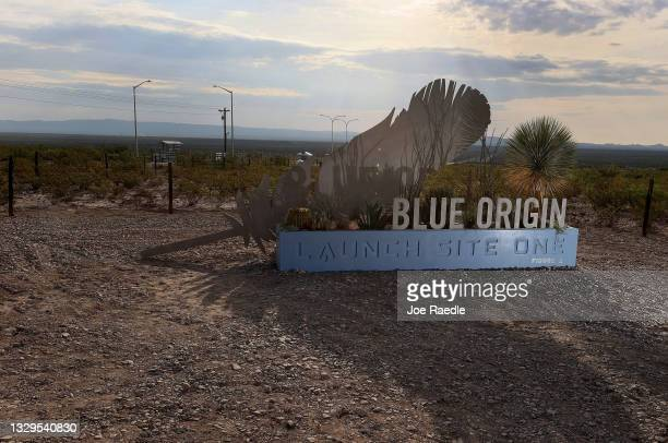 The sign outside of Jeff Bezos' Blue Origin operations in West Texas on July 19, 2021 in Van Horn, Texas. Mr. Bezos is scheduled to lift off from the...
