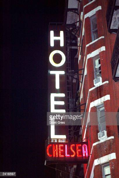 The sign outside the Chelsea Hotel is seen during the after party for the Sex Pistols reunion show at Serena in the Chelsea Hotel August 21 2003 in...
