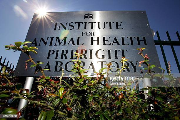 The sign outside the Institute for Animal Health Pirbright Laboratory on August 5 2007 in Pirbright England The outbreak of foot and mouth disease...