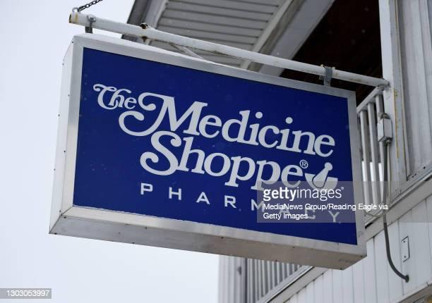 The sign outside The Medicine Shoppe pharmacy in Shillington Friday morning February 19, 2021.