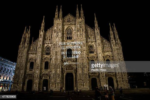 The sign 'To feed the planet the future is Veganism' was projected yesterday night on the Duomo Cathedral in Milan Italy by 'Essere Animali'...