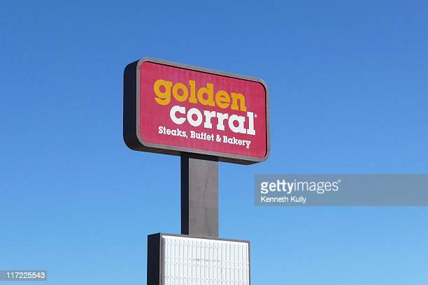 The sign towering over the Golden Corral parking lot in Rock Springs, Wyoming.