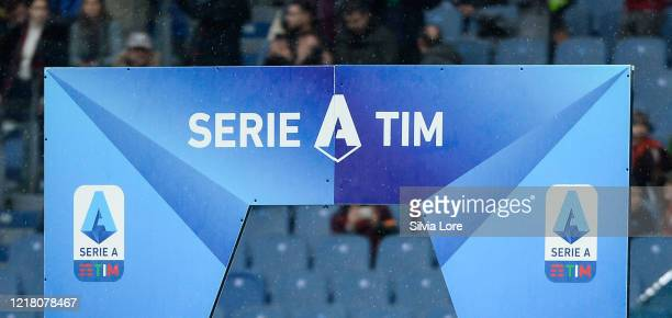 The sign with the logo Serie A at the entrance to the playground of the Olympic Stadium before the Serie A match between AS Roma and Brescia Calcio...