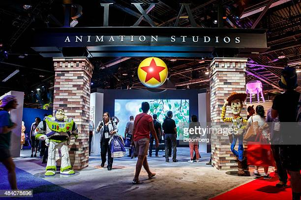 The signage for Pixar Animation Studios is displayed with characters from the Toy Story movies during the D23 Expo 2015 in Anaheim California US on...
