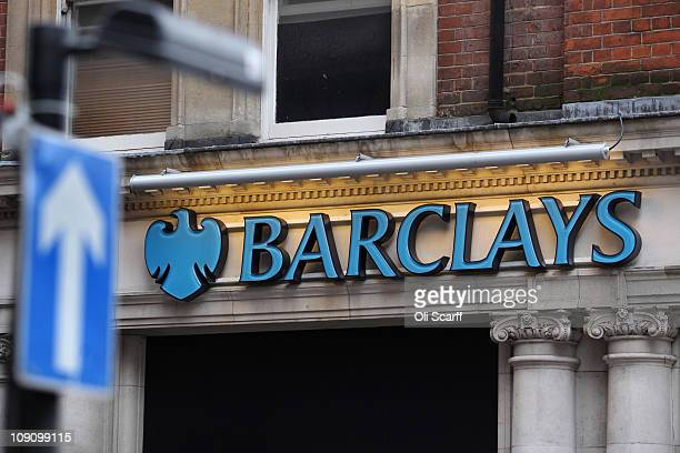 The signage of a branch of Barclays bank in central London on February 15, 2011 in London, England. Barclays banking group has today reported pre-tax...
