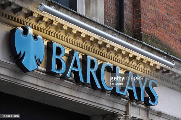 The signage of a branch of Barclays bank in central London on February 15 2011 in London England Barclays banking group has today reported pretax...