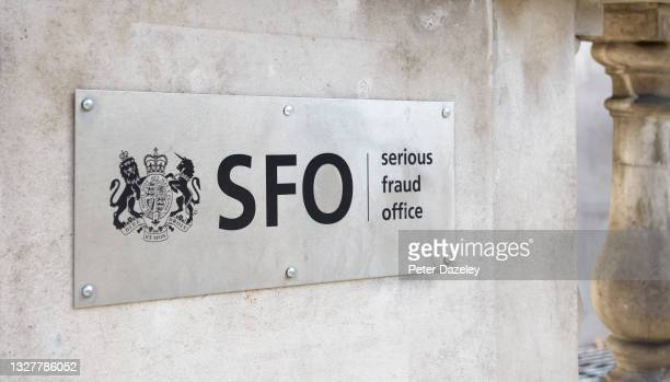 The signage on the outside of the building, for the SFO Serious Fraud Office on July 5,2021 in London,England.