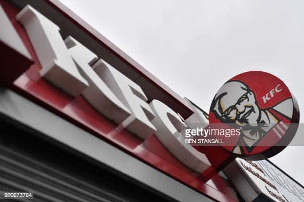 The signage outside a closed KFC fast food store is seen in south London on February 19 2018 US fast food chain KFC said on February 19 it had been...