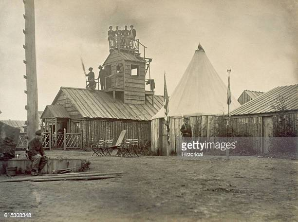 The signal station for the 13th New York Cavalry at Prospect Hill Virginia during the winter of 18641865 boasted a watchtower and well constructed...