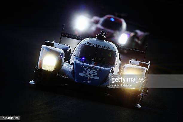 The Signatech Alpine of Nicolas Lapierre Gustavo Menezes and Stephane Richelmi drives during qualifying for the Le Mans 24 Hour race at the Circuit...