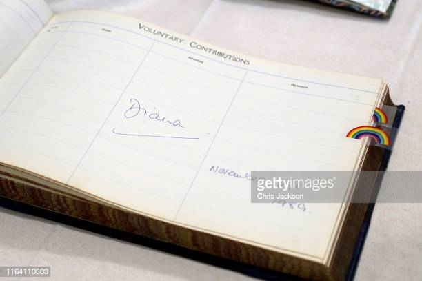 The signature of Princess Diana when she visited the hospital 30 years ago, during Prince Harry, Duke of Sussex's visit to Sheffield Children's...