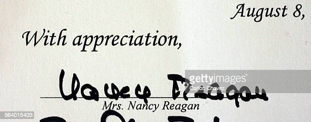 The signature of the First Lady Nancy Reagan on an Award certificate to Norma Stafford75 of Thousand Oaks for her work as a volunteer docent at the...
