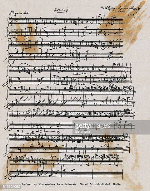The signature of Wolfgang Amadeus Mozart taken from a page of one of his sonatas.