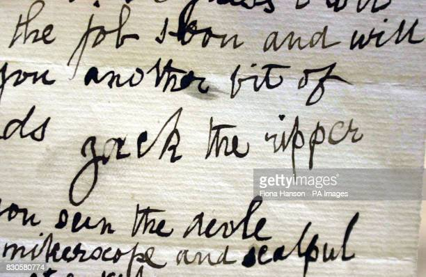 The signature on a letter dated 29 October 1888 written by a person claiming to be Jack the Ripper that was sent to Doctor Thomas Openshaw of the...