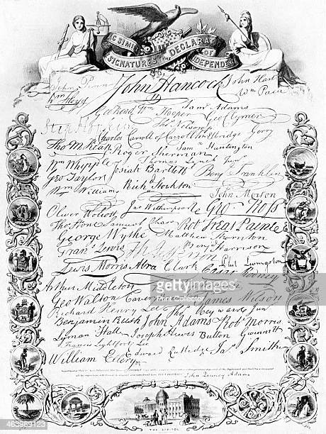 The signatures to the American Declaration of Independence c1776 John Adams Samuel Adams Josiah Bartlett Carter Braxton Charles Carroll Samuel Chase...