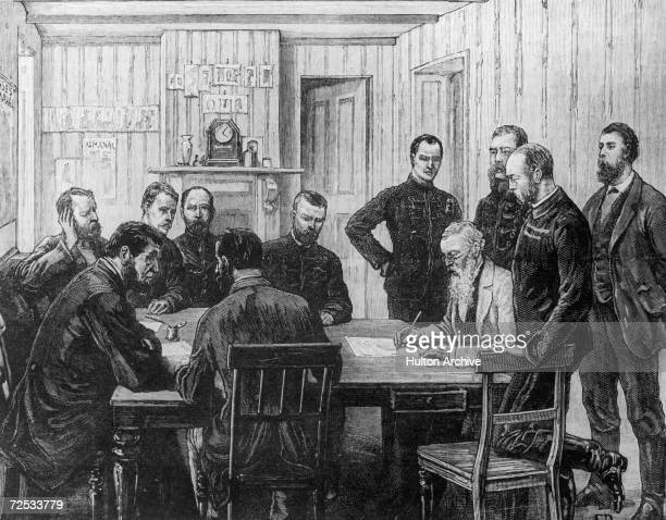 The signing of an armistice agreement at O'Neill's Farm at the end of the First Boer War March 1881 Behind Swart Dirk Uys Lieutenant Hamilton Major...