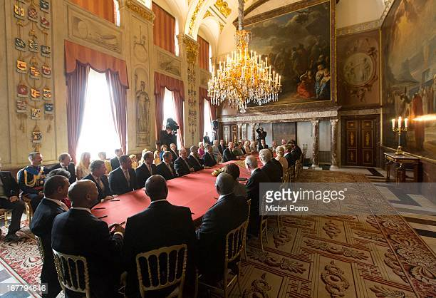 The signing of the Act of Abdication in the Moseszaal at the Royal Palace on April 30 2013 in Amsterdam Queen Beatrix of the Netherlands is...