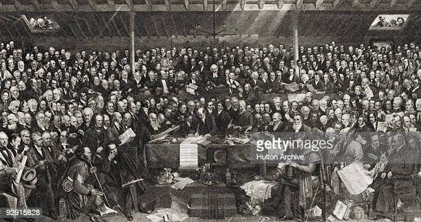 The signing of the Act of Separation and the Deed of Demission during the first General Assembly of the Free Church of Scotland at Tanfield in...