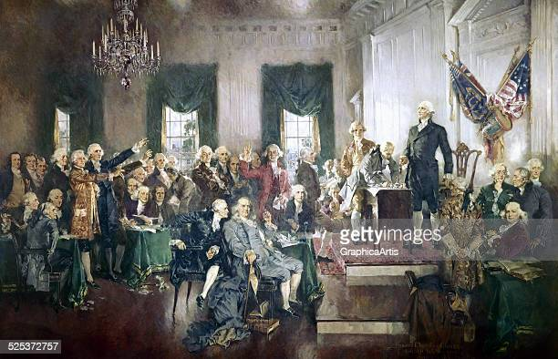 The Signing of the Constitution of the United States, with George Washington, Benjamin Franklin, and Thomas Jefferson at the Constitutional...