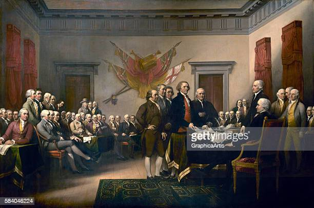 The signing of the Declaration of Independence in Philadelphia on July 4th 1819 The painting shows the fiveman drafting committee presenting the...