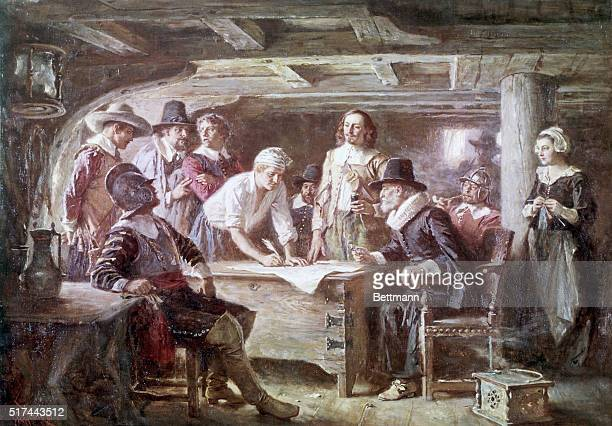 Signing of the Mayflower Compact 1620 Painting by JLG Ferris