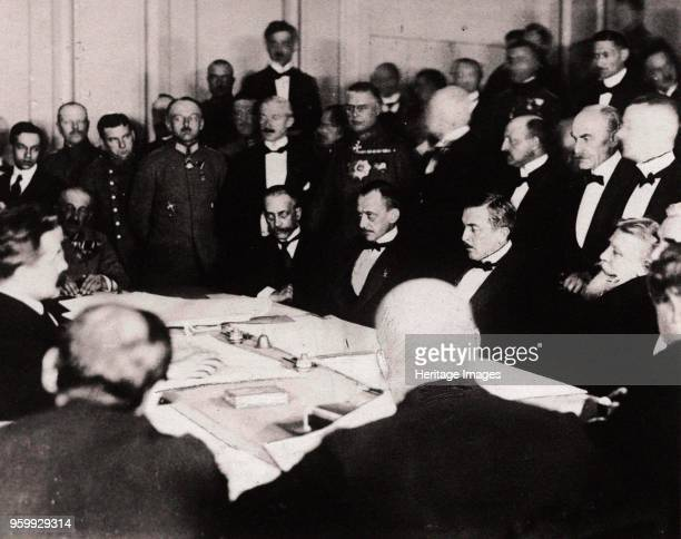 The signing of the Treaty of BrestLitovsk in the fortress of BrestLitovsk March 3 1918 Found in the Collection of Russian State Historical Library...