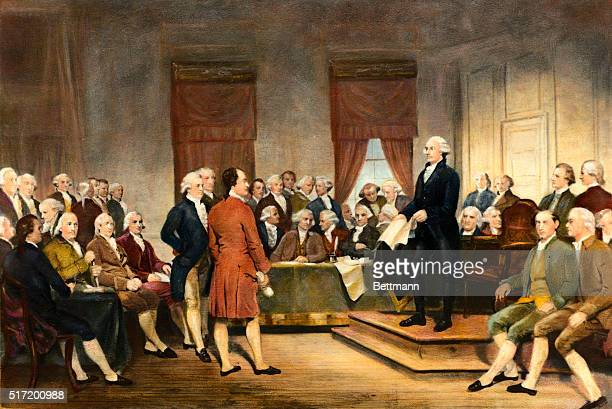 The signing of the United States Constitution in 1787 Undated painting by Stearns