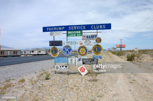 The signs that greet visitors arriving on Nevada Highway 160 from Las Vegas on June 21 2001 Pahrump Nevada