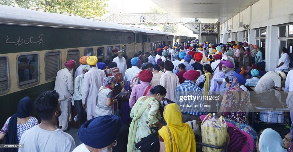 The Sikh Pilgrims at railway station before leaving from special Pakistani train for Lahore to celebrate Baisakhi festival in Pakistan from Attari...