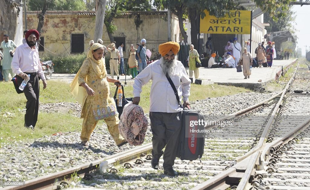 The Sikh Pilgrims before leaving special Pakistani train for Lahore to celebrate Baisakhi festival in Pakistan from Attari Railway Station on April...