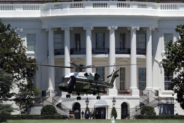 DC: The New Presidential Helicopter Marine One Takes Off From White House