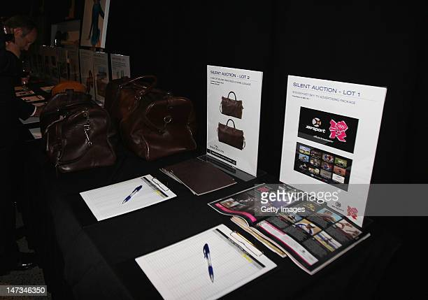 The silent auction is seen during the launch of the New Zealand Olympic Team uniform at the Prime Minister's Olympic Gala Dinner at the Viaduct...
