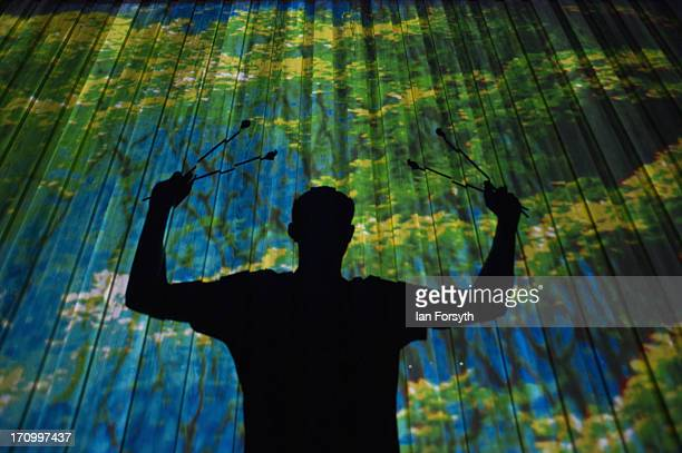 The silhouette of a musician with the Northumberland dance company 'Dansformation' is seen against a wall with an image of trees projected onto it as...