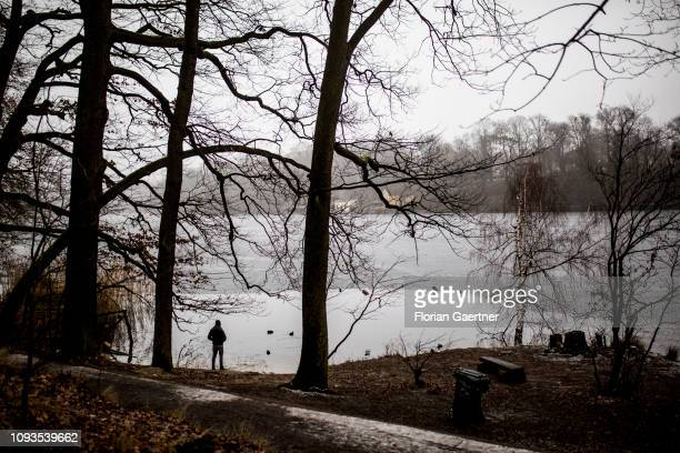 The silhouette of a person is pictured in front of the lake Schlachtensee on February 03, 2019 in Berlin, Germany.