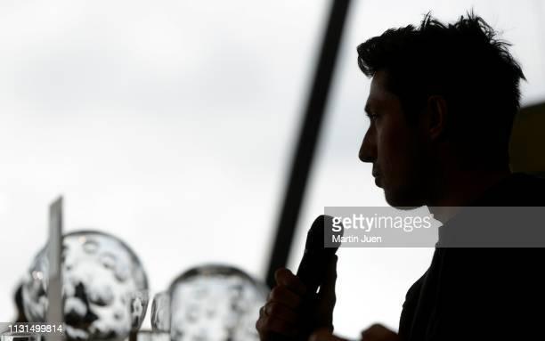 The silhouette of Austrian skier Marcel Hirscher at the press conference at Raiffeisen Bank International on March 19, 2019 in Vienna, Austria.