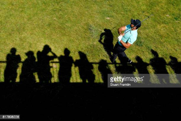The silhouette of fans watch Jason Day of Australia during a practice round prior to the 146th Open Championship at Royal Birkdale on July 18 2017 in...