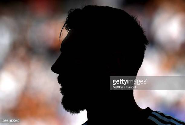 The silhouette of Lionel Messi of Argentina is seen during the 2018 FIFA World Cup Russia group D match between Argentina and Iceland at Spartak...