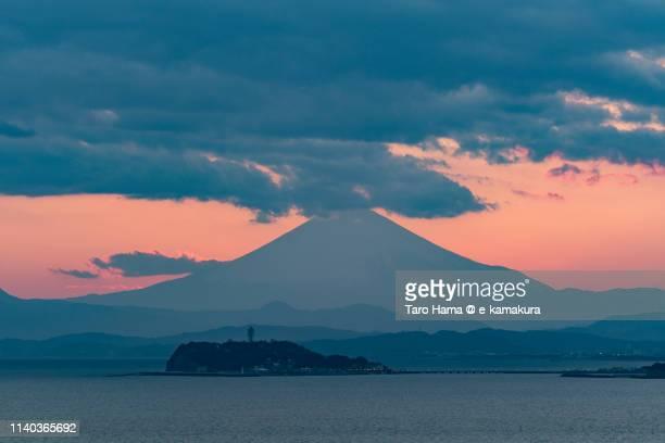 The silhouette of Mt. Fuji in Japan