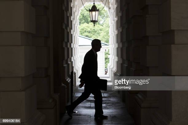 The silhouette of Robert Mueller, former director of the Federal Bureau of Investigation and special counsel for the U.S. Department of Justice, is...