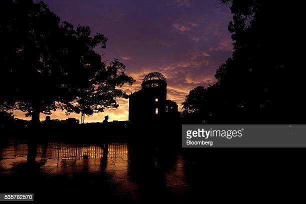 The silhouette of the Atomic Bomb Dome is seen in Hiroshima Japan on Monday May 16 2016 US President Barack Obama's historic visit on Friday May 27...