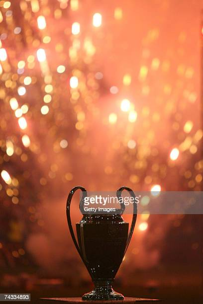 The silhouette of the Champion's League trophy is displayed during the Champion League celebration party at San Siro Stadium on May 25 2007 in Milan...