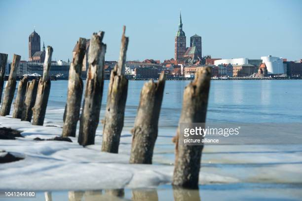 The silhouette of the hanseatic city of Stralsund is seen through groynes at the port of Stralsund, Germany, 10 February 2014. Stralsund's old town,...