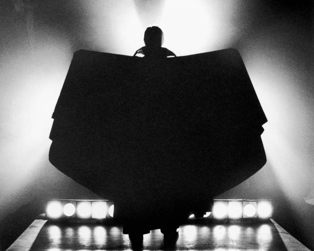 The silhouetted figure of the vampire Count Dracula,...