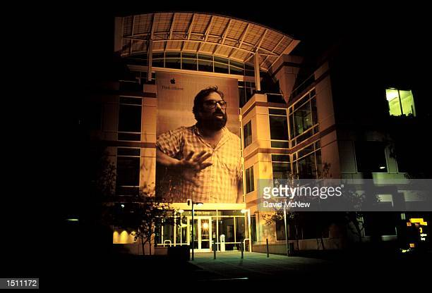 The Silicon Valley location of Apple Computer Inc radiates in the evening in Cupertino California April 21 2000