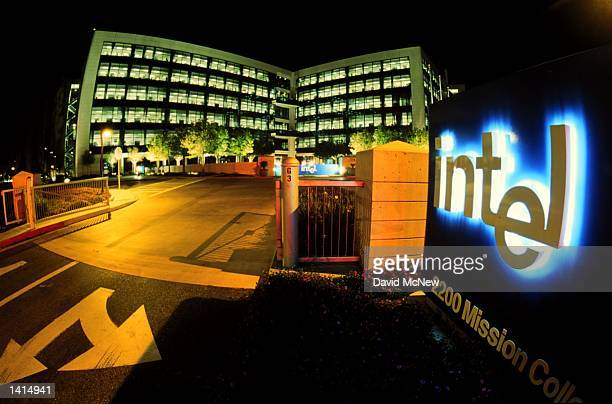 The Silicon Valley location of Intel stands aglow at night in Santa Clara, California April 21, 2000.
