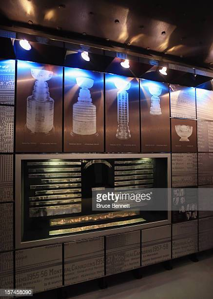 The silver bands featured the early winners of the Stanley Cup resides in a vault beside the Great Hall prior to the HHoF induction press conference...