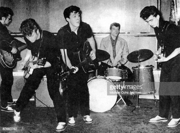The Silver Beatles on stage in 1960 in Liverpool England. The drummer Johnny Hutch was sitting in as they did not have a regular drummer that day.
