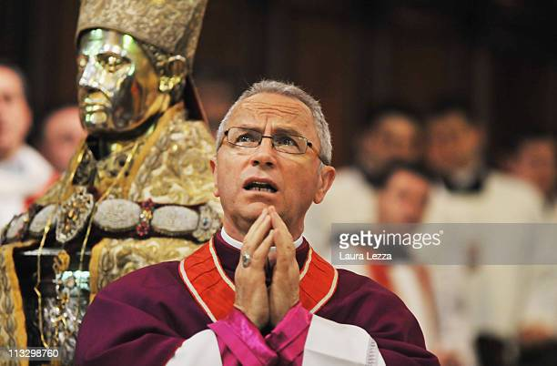 The silver bust of San Gennaro is seen during a ceremony on the day of the blood miracle at Naples Cathedral on April 30 2011 in Naples Italy Twice...