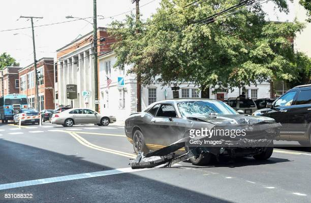 The silver Dodge Charger alledgedly driven by James Alex Fields Jr passes near the Market Street Parking Garage moments after driving into a crowd of...